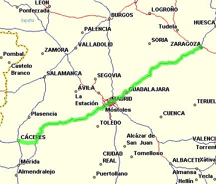 Zaragoza-Cáceres en tren