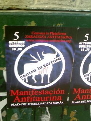 Convocada la manifestación antitaurina anual de Zaragoza: 5 de Octubre a las 16:30